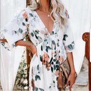 Lovestitch Dolman Sleeve V Neck Floral Dress